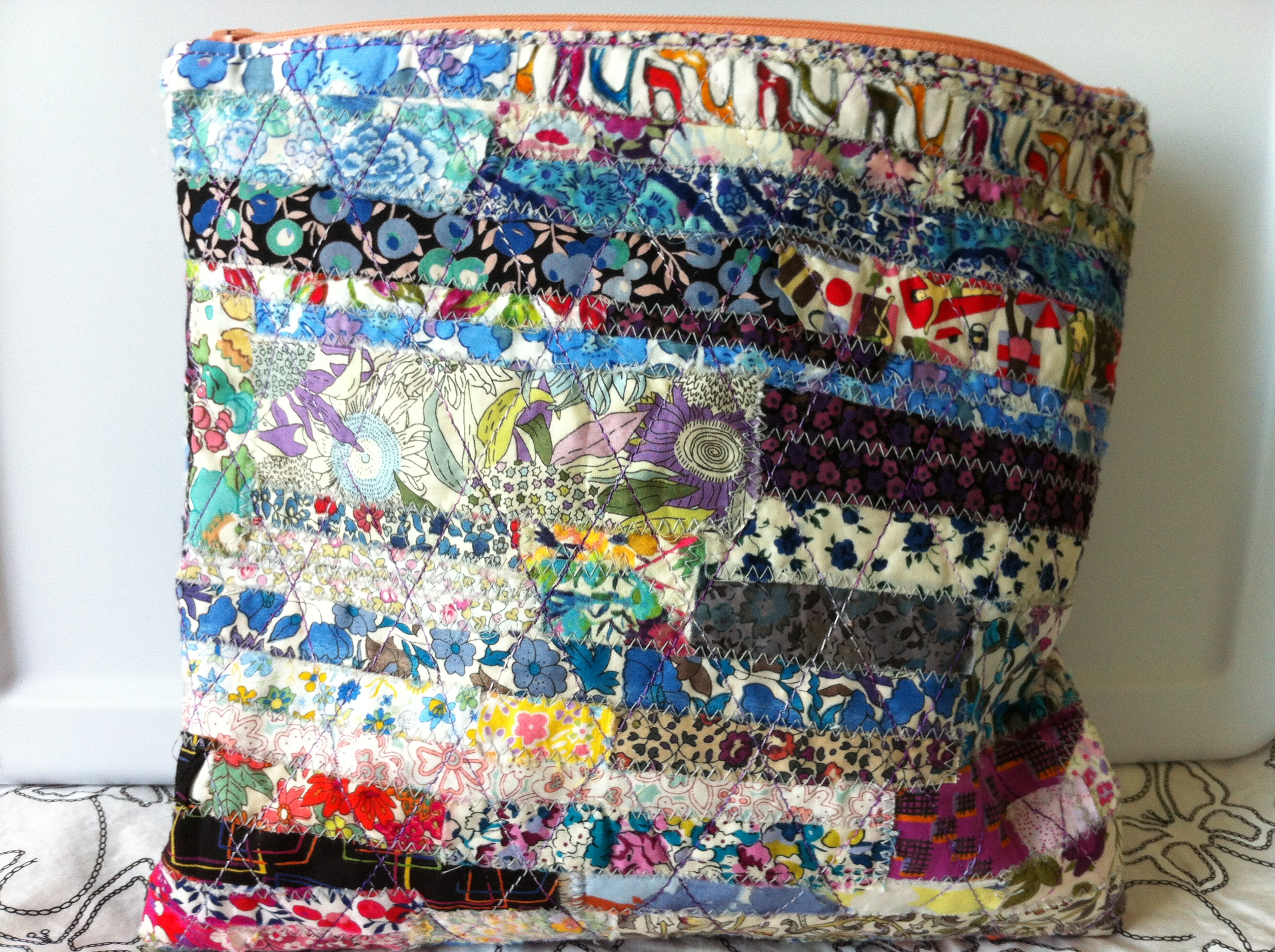 Mad For Fabric Liberty scrap quilted pouch front view