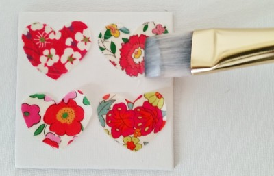 Mad For Fabric - Mini Hearts Decoupage To Mini Canvas