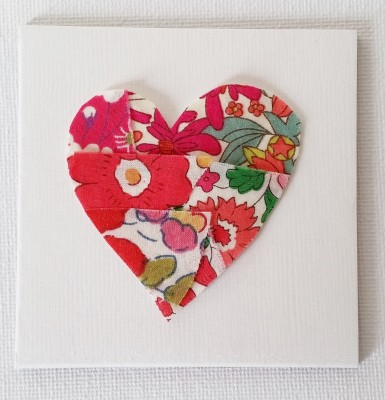Mad For Fabric - Scraps Glued to Muslin and Cut To Heart Shape
